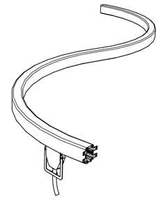 Curved enclosed conductor rail