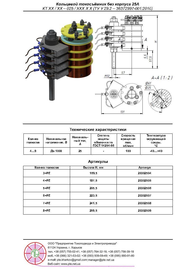 Кольцевой токосъёмник 25A Стандарт
